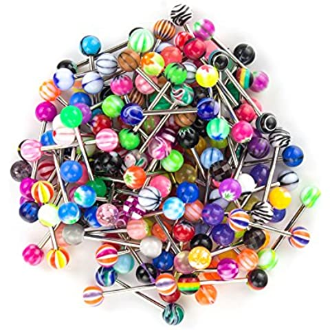 Magicmoon Piercing del Cuerpo Venta al por mayor Lote de 100 PCS 14G Mezclado Pezón Lengua anillos barbells La perforación del cuerpo Joyería de colores