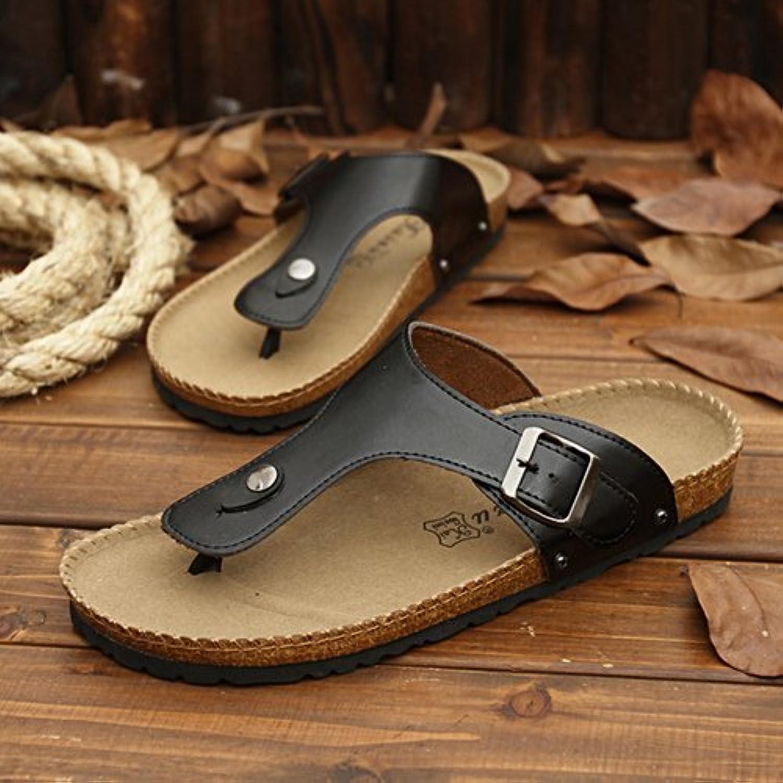 xing lin 43108 - Sandalias para Hombre, Diseño de Rayas, Color Negro