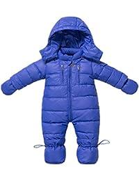 Invierno mameluco infantil con capucha mamelucos del bebé recién nacido bebe ropa pato abajo mono trajes de las muchachas ropa de abrigo