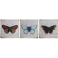 Premier Housewares Butterfly Wall Plaques - Multi-Colour, Set of 3