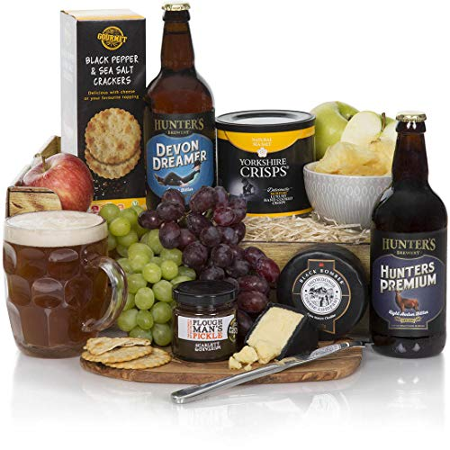 Ploughman's Beer Hamper - Gift Hamper For The Cheese And Beer Lover - Hampers For Him And Gift Baskets For Men - Beer, Fruit and Cheese Gift For Him - Free UK Delivery