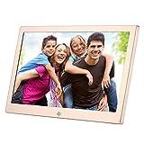 Digitaler Bilderrahmen 12 Zoll mit Motion Sensor Festplattenspeicher HD 1280x800 Frame Wide Screen Bilder ansehen Musik hören MP3 Video MP4, Gold