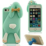 3D Hübsch Mode Hase Aussehen Weich Silikon Gel iPhone 5 5C Hülle ( Cyan ) HandyHülle Handy Tasche, Apple iPhone 5S SE Case, Karikatur Tier Stil Cover Anti-Shock + Silikon Halter