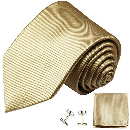 Cravate homme or tan uni ensemble de cravate 3 Pièces ( longueur 165cm )