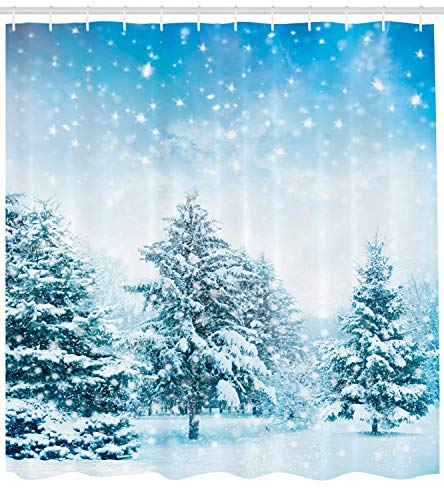 Curtain, Snow Covered Fir Trees on Mountainside Blizzard Arctic Woodland Tranquil Outdooors, Fabric Bathroom Decor Set with Hooks, 72x72 inches Extra Wide, Blue White ()