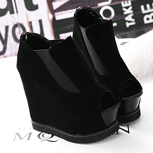 GTVERNH-primavera nera 8.5cm solo scarpe sexy super scarpe con tacchi alti impermeabilizzare la notte su bocca di pesce sandali.,35 Thirty-four