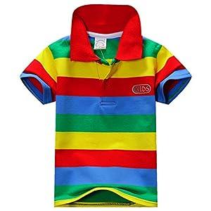 ESHOO Chicos Chicas Manga Corta a Rayas Camiseta Polo Camisas Verano 1-7 años 12