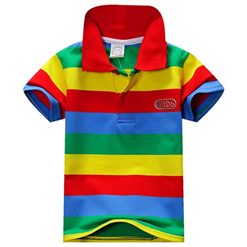 ESHOO Kids Boys Girls Short Sleeve Striped T-Shirt Polo Shirts Summer 1-7 Years