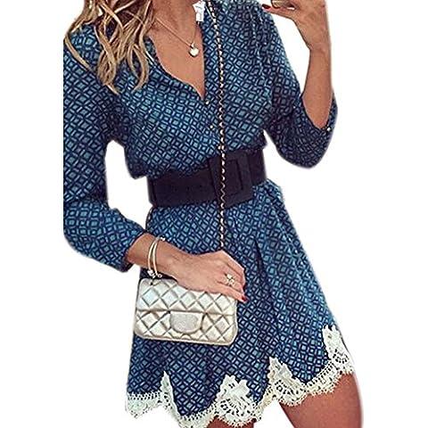 iPretty Túnica Profundo V-Cuello Vestido Estampada Atractiva con Manga Larga para Mujer Azul Talla EU34 36 38 40