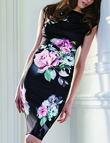 CARINACOCO Donna Vestit Eleganti Abito Stampa Floreale Sottile Abiti Vestiti da Sera Matrimonio Banchetto Rosa