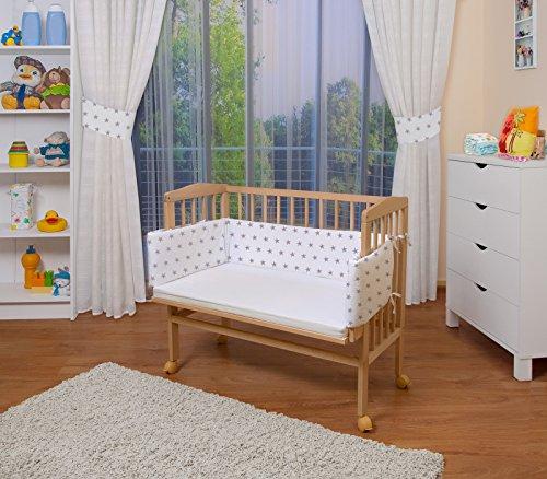 Waldin baby,lettino culla,altezza regolabile,paracolpi e materasso,in 16 varianti, naturale,superficie d'appoggio extra lung. 90 x larg. 55 cm,bianco/stella grigio