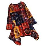 VJGOAL Damen Bluse, Gute Qualität Chic Bohemian O-Neck Long Sleeve Print lose Herbstliche Bluse Pullover Button Long Tops Shirt Kleid (Orange,34)
