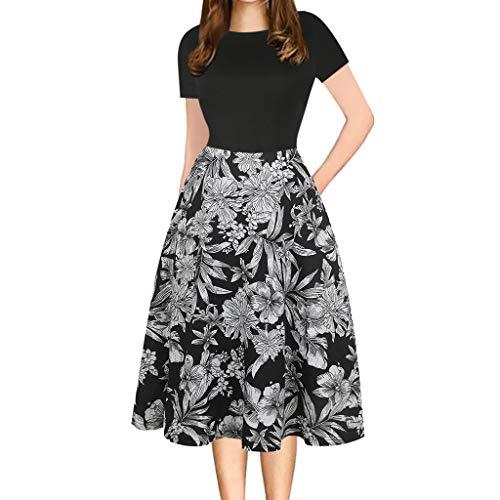 TEELONG Kleider Damen Mode-Weinlese-Patchwork-Taschen-geschwollener Druck-beiläufiges Partykleid...