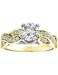 Silvernshine 14k Yellow Gold Plated Alloy Wedding Engagement Ring In White Diamond CZ