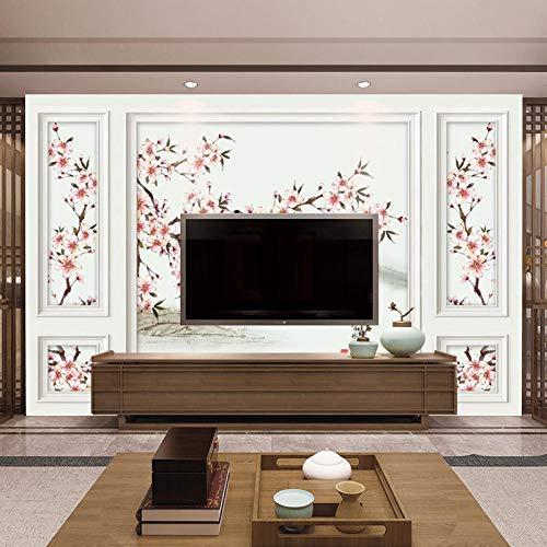 Mur de fond de télévision Nouvelle chambre chinoise d'étude canapé Tv papier peint sans couture prune fleur oiseau Mural Papier Peint 3D Faux Cuir Vinyle Mural-200cm×140cm