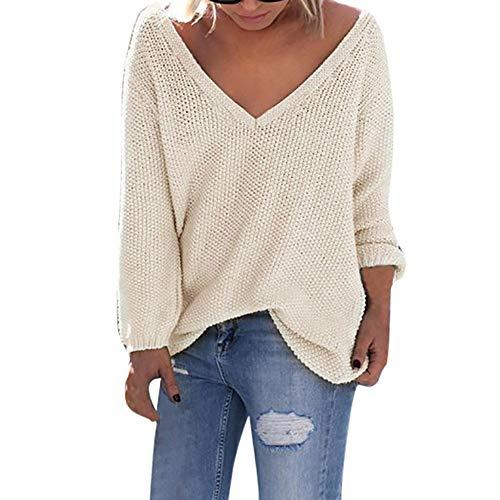 BHYDRY Pullover Damen Plus Size Womens Long Sleeve Mode T-Shirt Tops lose Strickjacke (Johnny Cash Kostüm)