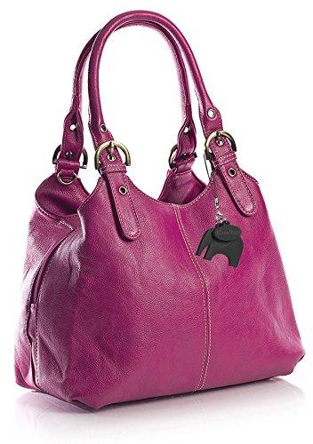 BHBS Mehrere Taschen mittleren Damen Tasche mit einem langen Riemen 33x264x13 cm (BxHxT) (33622 Magenta Pink)