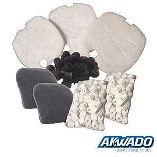 AKWADO Ersatzteil Filtermedien-Set für HW-304 Aquarienfilter 4 Kammer