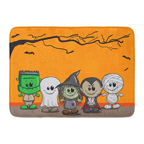 LIS HOME Fußmatten Bad Teppiche Outdoor/Indoor Fußmatte Orange Cartoon niedlichen Halloween Frankenstein Ghost Hexe Dracula Mama Kind Badezimmer Dekor Teppich Badematte (Halloween Frankenstein Cartoon)