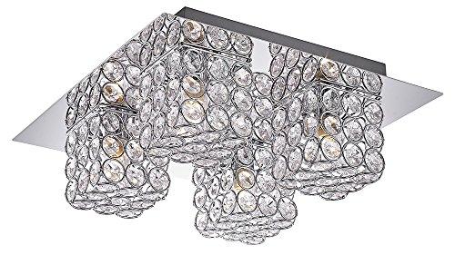 Moderna Lámpara de Techo para Baño Con Vidrio de Cristal y Pantalla de Metal por Happy Homewares