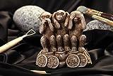 Handmade dekorative Figur Wohnzimmer Deko Miniatur Figur drei Affen braun