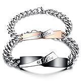 Jstyle Paar Armband mit gravur Edelstahl Freundschaft Armbänder Damen Herren Zirkonia Schwarz Armketten 21,5 cm rosegold für Lieben Frauen