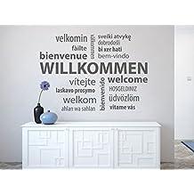 Wandtattoo Willkommen Wortwolke Nr 1 Wand Tattoo Auf Verschiedenen Sprachen Wie Welcome Velkomin Hosgeldiniz Welkom