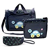 MKQPOWER 4pcs Baby Diaper Nappy Changing Bag Multi-functional Waterproof Mummy Shoulder Bag Bottle Holder Travel Backpack for Mothers Day Gift(Purplish Blue)