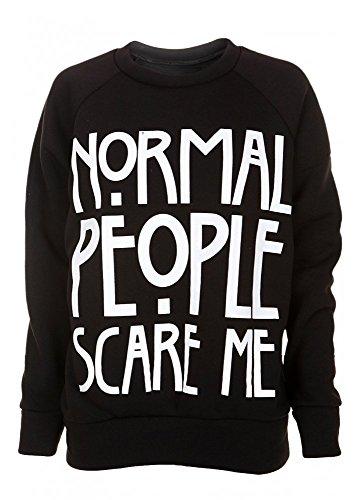 Normal People Scare Me American Horror Story Slogan Felpa da donna nero Black M / L