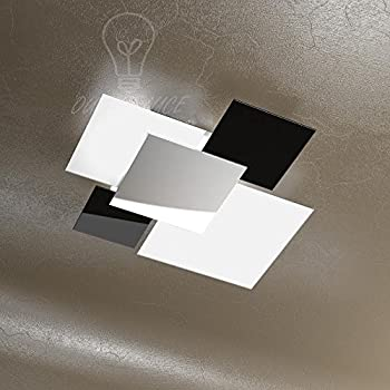 LAMPADA LAMPADARIO MODERNO TOP LIGHT 1088/70-NE VETRI BIANCHI NERI CUCINA  SOGGIORNO SALA CAMERA CAMERETTA