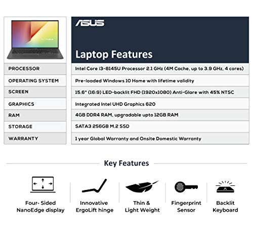 ASUS VivoBook 15 X512FA Intel Core i3 8th Gen 15.6-inch FHD Thin and Light Laptop (4GB RAM/256GB SSD/Windows 10/Built-in Graphics/Slate Grey/1.70 kg), X512FA-EJ550T Image 3