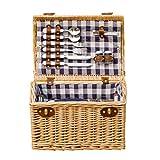 GYFSLG Outdoor Picknickkorb Picknick-Set Tragbar Mit Deckel Aus Natürlichem Geflochtenem, Geflochtenem Innenfutter Mit Isolationspaket Für 4 Personen