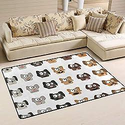 JSTEL - Alfombra Lavable, Suave, diseño de Animales de Perro Emoji, 90 x 60 cm (2 x 3 pies), 90 x 60 cm