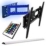 TV Wandhalterung mit Hintergrund Beleuchtung schwenkbar ausziehbar +/- 15° geeignet für TV und Monitore bis 160 cm Diagonal (63 Zoll) mit VESA Normen in cm: 10x10 | 20x10 | 20x20 | 30x30 | 30x40 | 40x30 | 40x40, Wandabstand min 90 mm, max 670 mm geschweißte Gelenke, universell passend für alle Monitore und TV-Marke, mit Klebestreifen 2 Streife mit 16-farbiger 18-LEDs Beleuchtung + Fernbedienung 24 Tasten, 6 Funktionen, ein/aus Tasten Netzteil Kontroller, Model 4138