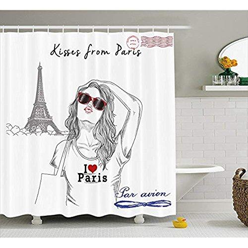 Yeuss Fashion House Decor Duschvorhang, Küsse aus Paris EIN Mädchen mit Sonnenbrille posiert vor dem Eiffelturm, Stoff-Badezimmer-Dekorset mit Haken, Rot-Weiß