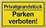 Hinweiszeichen Hinweisschild B 250 x H 150 mm -Privatgrundstück Parken verboten- schwarz/gelb