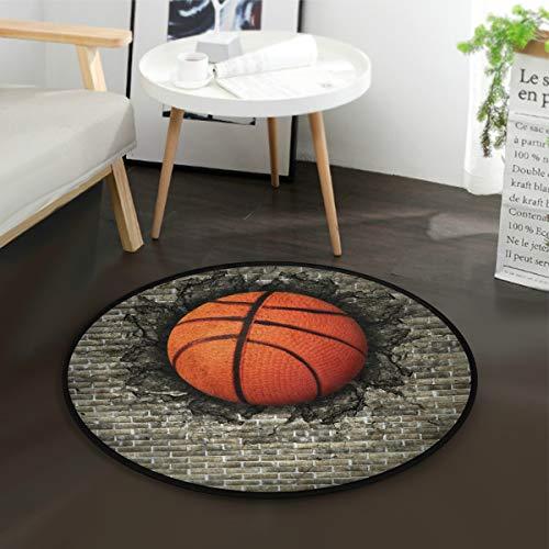 LUPINZ Basketball Eingebettet in Ziegelwand Rund Anti-Rutsch-Bereich Teppich Basketball Eingebettet in Ziegel Wand Teppich Fußmatte für Zimmer - Ziegel Farbe Teppiche
