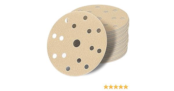 25 Stück Schleif scheiben 150 mm Exzenter 15 Loch Schleif papier P180 gold Klett