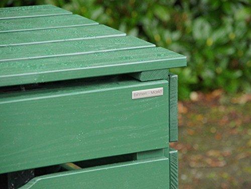 2er Mülltonnenbox / Mülltonnenverkleidung 120 L Holz, Deckend Geölt Tannengrün - 3
