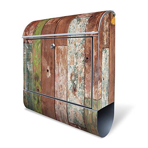 BANJADO Design Briefkasten mit Zeitungsfach, 2 Schlüssel, A4 Einwurf, silber pulverbeschichtet, mit Motiv Buntes Holz