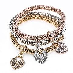Idea Regalo - Westeng - Bracciale da Donna con ciondoli pendenti a forma di ricoperti di strass, con catenina in scala dorata, set di 3 pezzi (cuore)