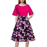 Damen-Kleid mit 5 Ärmeln und Rundhalsausschnitt, bedruckt, Vintage-Blumenmuster, Patchwork, halbe Ärmel, lässig, Abendkleid xl hot pink