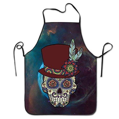 Laohujia Sugar Skull Mexican Top Hat Bib Apron Adult Women Unisex Durable Comfortable Washable for Cooking Baking Kitchen Restaurant -