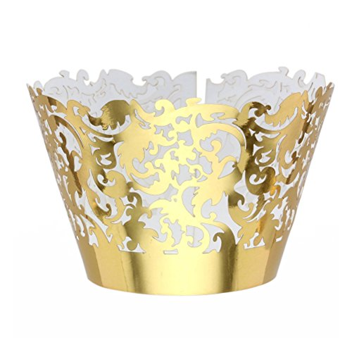 Tinksky Muffin Cup Trays Golden Kuchen Wrapper RS Trays Party Dekoration 50stk -