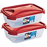 Wham Cuisine Rectangular Food Storage Plastic Box Container, 1.6 Litre, 2 Pcs Set, Red
