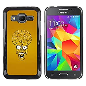 TopCaseStore / Snap On Gummi Schwarz Schutz Hülle Case Cover - Alien Skull Big Brain Monster Head Yellow Art - Samsung Galaxy Core Prime SM-G360