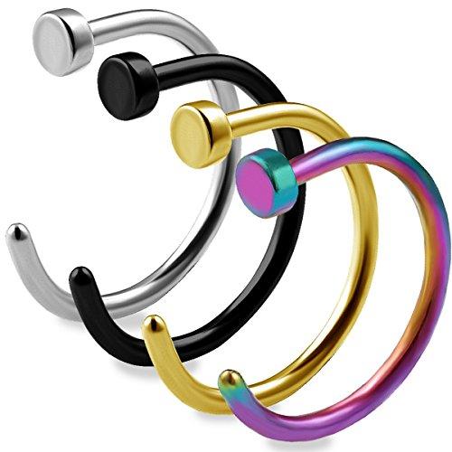 4 Stück nasenpiercing ring 0.8mm chirurgenstahl Nasenring Fake nose Nasen Hoop Nase Ring edelstahl AAQD STBKGDRB (Fake Nose Hoop Ringe 1 4)