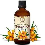 Sanddornöl 100ml - Kaltgepresstes Sanddorn Öl - 100% Rein & Natürlich - Basisöl - Reich An Omega 7 - Vitamin C - Beta-Karotin - Aminosäuren - Intensive Pflege für Gesicht - Körper -