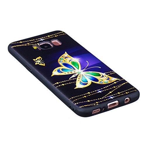 S8 Hülle ,Samsung S8 Shell Case , Galaxy S8 Black Hülle, Cozy Hut® [Liquid Crystal] [Matte Black] [With Lanyard/Strap] Samsung Galaxy S8 Ultra Slim Schutzhülle ,Anti-Scratch Shockproof und Schutz vor  Goldener Schmetterling