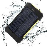 XZB Solar-Ladegerät Power Bank 20.000mAh tragbare Handy-Ladegerät Power Bank Dual USB 1.0A/2.1A max wasserdichte LED-Taschenlampe externe Batterie (Universal) (Farbe : EIN)